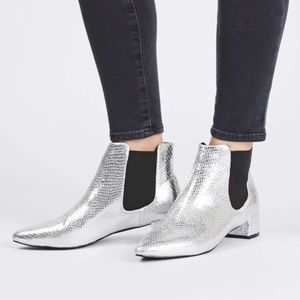 Topshop silver snakeskin booties size 36